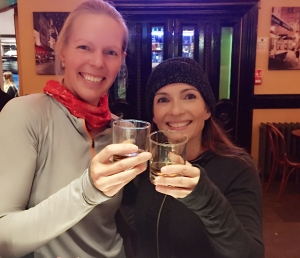 Lucja and Colleen enjoying a dram of Whisky at the end of the tour