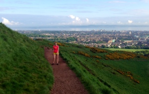On the trail up to Arthur's Seat
