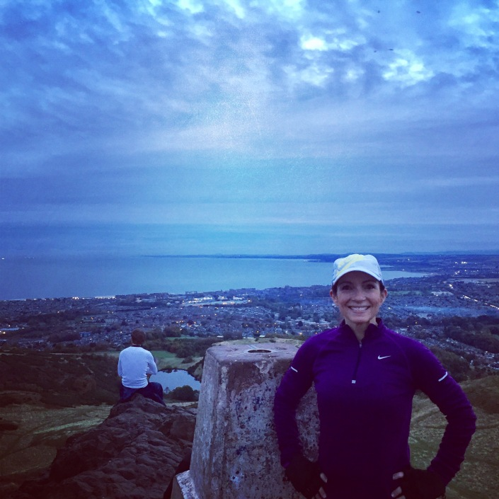 Colleen from the USA on top of Arthur's Seat
